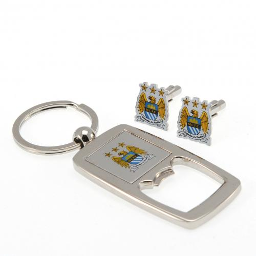 Manchester City F.C. Cufflinks & Keyring Bottle Opener Set
