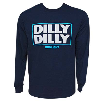 BUD LIGHT Dilly Dilly Long Sleeve Navy Blue Tee Shirt