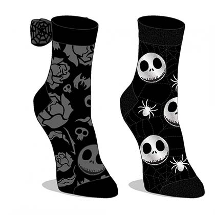 Nightmare Before Xmas Grey And Black 2-Pack Sock Set