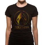 Aquaman Movie - Metallic Symbol - Women Fitted T-shirt Black