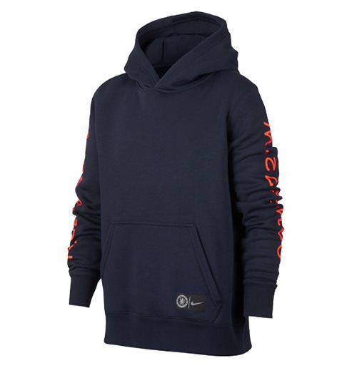 2018-2019 Chelsea Nike Core Hooded Top (Obsidian) - Kids