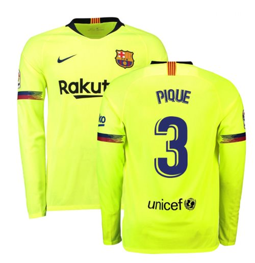 online retailer cf0c1 c2c37 2018-2019 Barcelona Away Nike Long Sleeve Shirt (Pique 3)