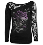Skull Rose - Lace One Shoulder Top Black