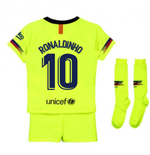 2018-2019 Barcelona Away Nike Little Boys Mini Kit (Ronaldinho 10)