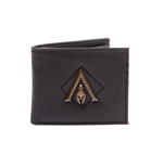 ASSASSIN'S CREED Odyssey Metal Logo Badge Premium Bi-Fold Wallet, Male, One Size, Black