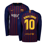2018-2019 Barcelona Home Nike Long Sleeve Shirt (Ronaldinho 10)