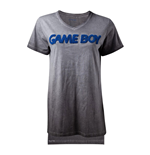 NINTENDO Gameboy 3D Logo Oil Washed T-Shirt, Female, Large, Grey