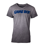 NINTENDO Gameboy 3D Logo Acid Washed T-Shirt, Male, Large, Grey