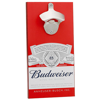 BUDWEISER Bottle Opener With Magnetic Cap Catcher