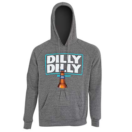 BUD LIGHT Grey Dilly Dilly Beer Pouch Hoodie