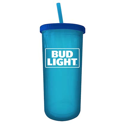 BUD LIGHT Blue 20 Ounce Cup With Straw And Lid
