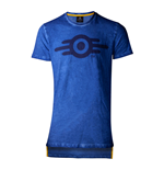 FALLOUT 76 Vault-tec Logo Oil Washed T-Shirt, Male, Large, Blue