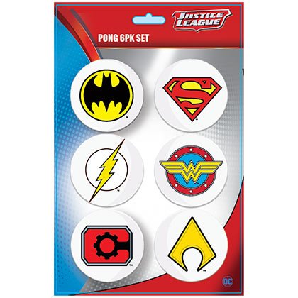 JUSTICE LEAGUE Superhero Logo Pong Ball Set