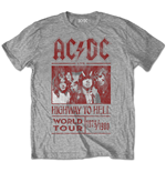 AC/DC: Highway To Hell World Tour 1979 / 1980 Special Edition Grey T-shirt (Unisex)