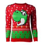 NINTENDO Super Mario Bros. Yoshi Christmas Knitted Sweater, Female, Large, Red/Green