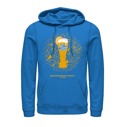 BLUE MOON Tall Glass With Orange Sky Blue Hoodie