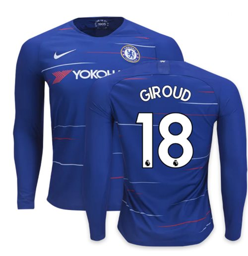 2018-2019 Chelsea Home Nike Long Sleeve Shirt (Giroud 18)