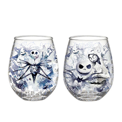 NIGHTMARE BEFORE CHRISTMAS 20 Ounce Stemless Wine Glass Set