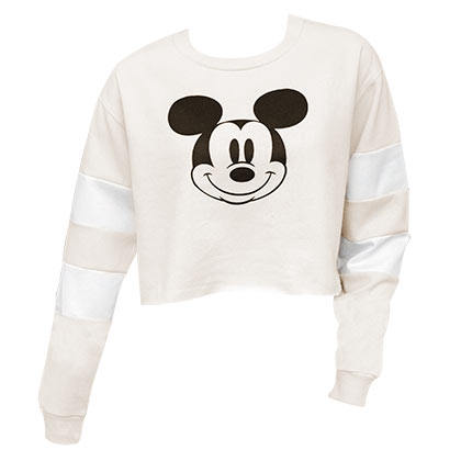 Mickey Mouse Cropped Hockey Off White Women's Sweatshirt