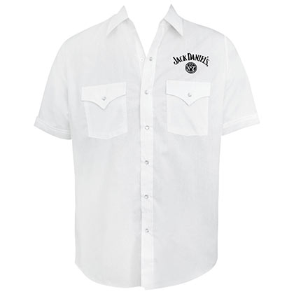 JACK DANIELS White Short Sleeve Button Up