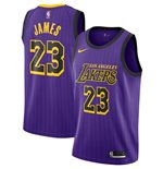 Men's Los Angeles Lakers LeBron James Nike Purple City Edition Swingman Jersey