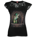 Absinthe - Lace Layered Cap Sleeve Top Black (Plain)
