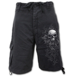 Skull Scroll - Vintage Cargo Shorts Black (Plain)