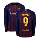 2018-2019 Barcelona Home Nike Long Sleeve Shirt (Suarez 9)