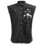 Skull Scroll - Sleeveless Stone Washed Worker Black (Plain)