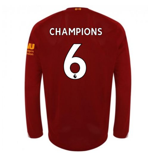 2019-2020 Liverpool Home Long Sleeve Shirt (Champions 6)