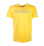 SONY Playstation Icons Long Line T-Shirt, Male, Yellow