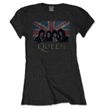 Queen Ladies Tee: Union Jack Vintage (Retail Pack)
