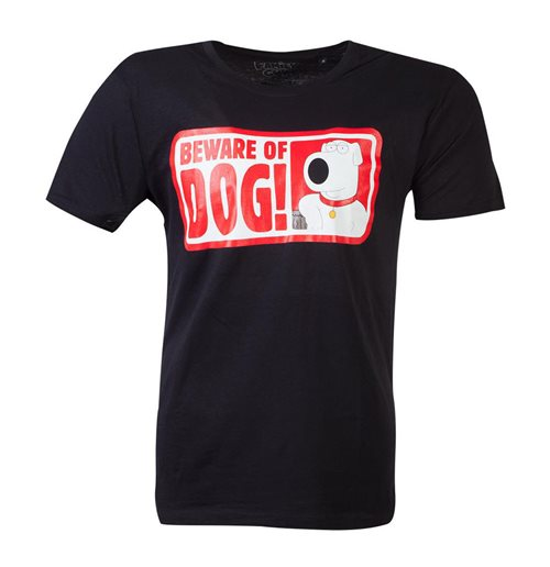 FAMILY GUY Beware of Dog T-Shirt, Male, Large, Black