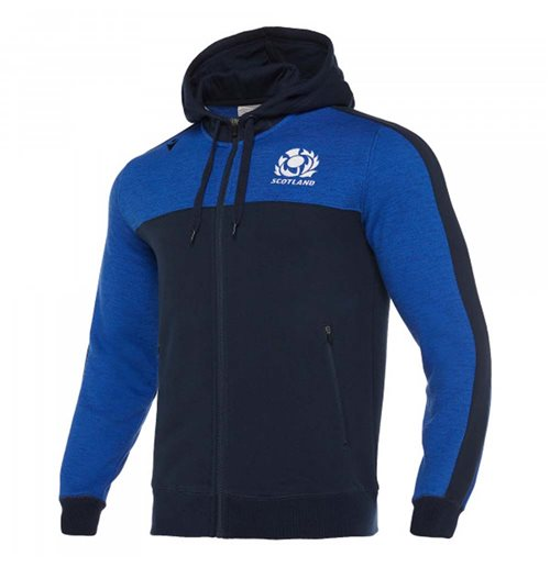 2019-2020 Scotland Macron Rugby Heavy Cotton Full Zip Hoody (Blue)