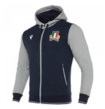 2019-2020 Italy Macron Rugby Travel Hooded Sweatshirt (Navy)