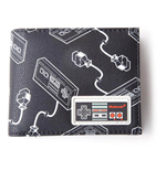 NINTENDO NES Controllers All-Over Print with Rubber Patch Bi-fold Wallet, Male, Multi-colour