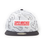 NINTENDO SNES Controllers All-Over Print with Rubber Patch Snapback Baseball Cap, Unisex, White/Black