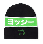 NINTENDO Super Mario Bros. Yoshi Japanese Outline Cuffless Beanie, Unisex, Black/Green