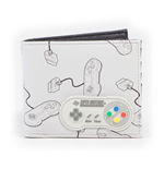 NINTENDO SNES Controllers All-Over Print with Rubber Patch Bi-fold Wallet, Male, Grey/Black
