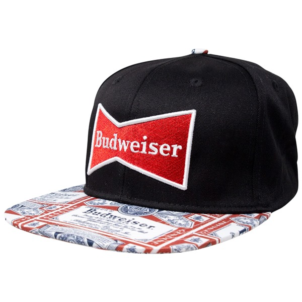Budweiser Beer Label Brim Adjustable Snapback Hat