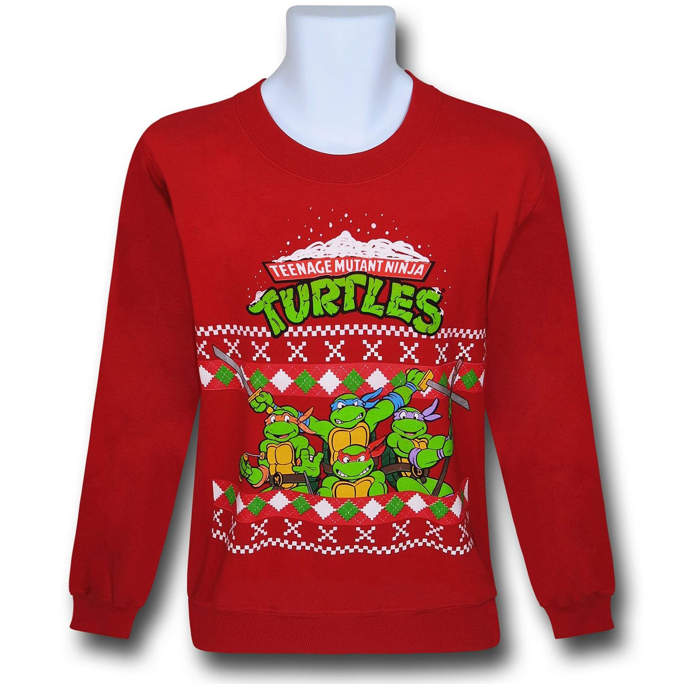 TMNT Group Red Christmas Sweater Sweatshirt