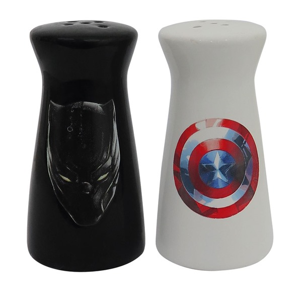 Captain America Black Panther Salt  and  Pepper Shakers