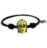 Sw C-3PO Gold Bracelet Black Rubber
