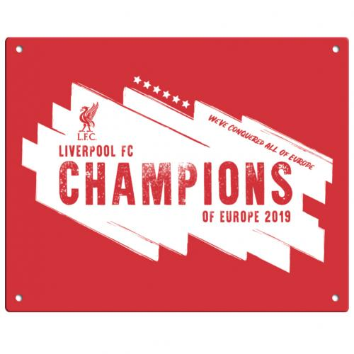 Liverpool F.C. Champions Of Europe Metal Sign
