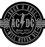 AC/DC Patch Rock N Roll Will Never Die CUT-OUT