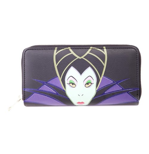DISNEY Maleficent 2 Maleficent Character Face Zip-around Wallet Purse, Female, Black/Purple