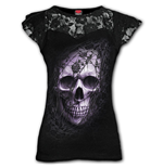 Lace Skull - Lace Layered Cap Sleeve Top Black (Plain)