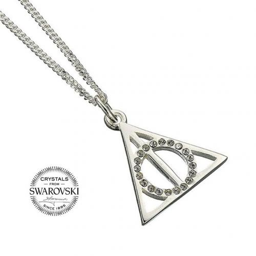 Harry Potter Sterling Silver Swarovski Necklace Deathly Hallows