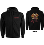 Queen Ladies Zipped Hoodie: Classic Crest (Back Print)