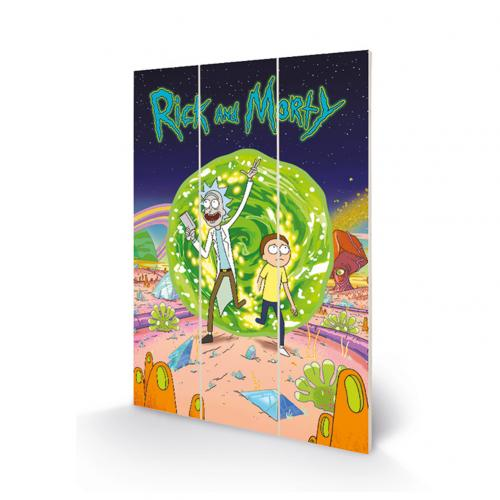 Rick And Morty Wood Print Portal